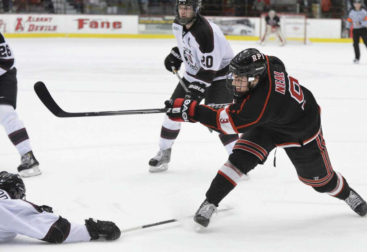 RPI's #9 Nick Matt Neal take a shot on goal against Union at the Houston Field House in Troy Saturday Nov. 2, 2012. (John Carl D'Annibale / Times Union)