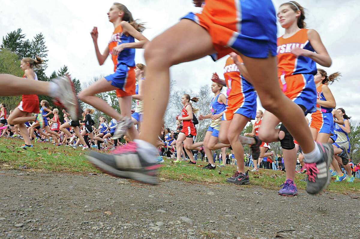 High School runners in the girls Class C start their race in the Section II Cross Country Championships on Friday Nov. 2, 2012 in Saratoga Springs, N.Y. (Lori Van Buren / Times Union)