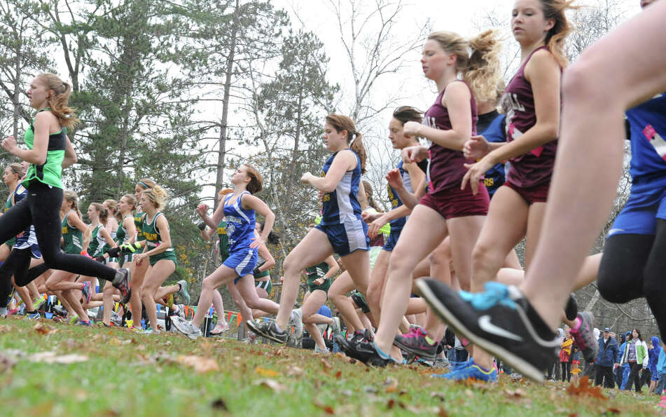 High School runners in the girls Class D start their race in the Section II Cross Country Championsh