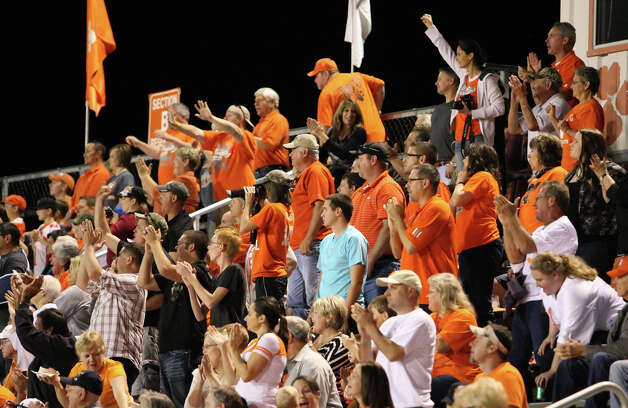 Orangefield fans celebrate a touchdown against Buna during the game Friday at F.L. McClain Stadium in Orangefield. (Matt Billiot/Special to the Enterprise)
