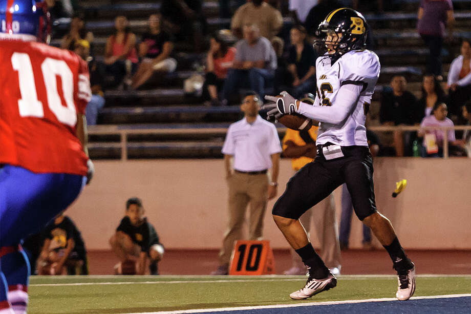 Brennan's Joel Silva intercepts a pass at the goal line during the third quarter of their game with Jefferson at Alamo Stadium on Nov. 2, 2012.  Brennan won the game 14-0.  MARVIN PFEIFFER/ mpfeiffer@express-news.net Photo: MARVIN PFEIFFER, Express-News / Express-News 2012
