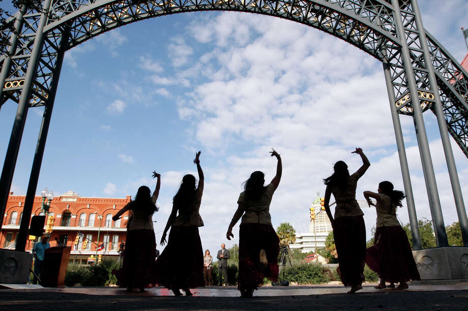 Members of the Exquisite Dancers troupe perform during a media conference announcing the upcoming, second annual Diwali at HemisFair Park, Thursday, Oct. 28, 2010. Photo: Jerry Lara, San Antonio Express-News / glara@express-news.net