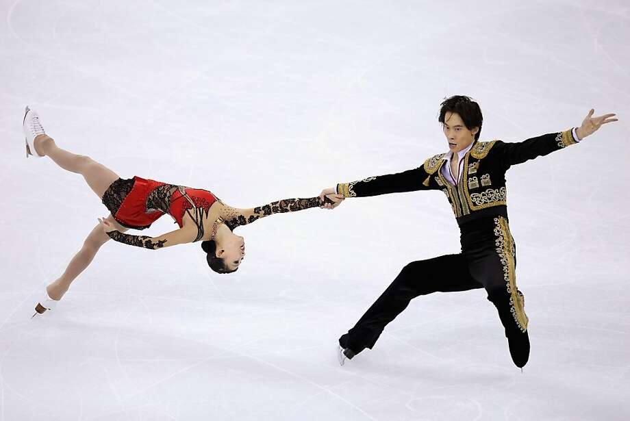 Qing Pang and Jian Tong of China skate in Pairs Short Program during Cup of China ISU Grand Prix of Figure Skating 2012 at the Oriental Sports Center on November 2, 2012 in Shanghai, China. Photo: Feng Li, Getty Images