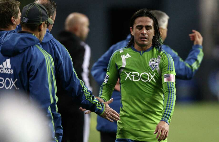 Visibly upset Sounders player Mauro Rosales leaves the game against Real Salt Lake during the MLS Western Conference semifinal on Friday, November 2, 2012 at CenturyLink Field in Seattle. Photo: JOSHUA TRUJILLO / SEATTLEPI.COM