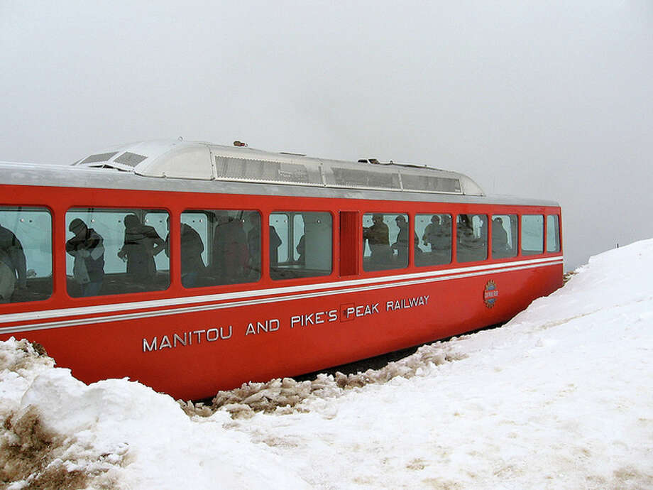 COLORADO: You can get to the top of Pike's Peak and still not be in the 10 highest places in the state. This train has been summiting the mountain for 112 years. Gary Lerude/Flickr Creative Commons