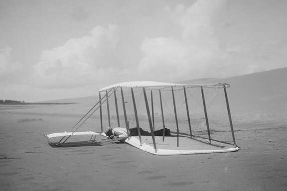 NORTH CAROLINA:  Before the Wright brothers flew with an engine, they had to practice gliding for years at Kitty Hawk. Wilbur Wright managed to walk away from this face plant in 1901.
