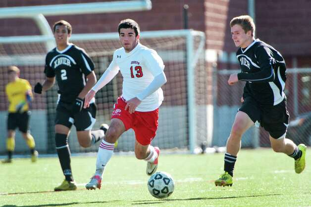 Fairfield Prep high school's Blake Roberts moves the ball upfield in a Southern Connecticut Conference boys soccer semifinal playoff game against Xavier high school held at Alumni field Fairfield University, Fairfield CT on Saturday November 3rd 2012. Photo: Mark Conrad / Connecticut Post Freelance