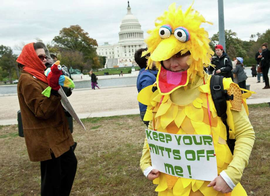 "A woman wearing a costume of Sesame Street character Big Bird holds a sign in support of public broadcasting during the ""Million Puppet March"" in Washington on November 3, 2012. Several hundred supporters of US public broadcasting in a good-humored protest prompted by US Republican candidate Mitt Romney's threat, in a televised debate with President Barack Obama a month ago, to halt government funding to public media if he wins the White House on ovember 6.    AFP PHOTO/Nicholas KAMMNICHOLAS KAMM/AFP/Getty Images Photo: NICHOLAS KAMM, AFP/Getty Images / AFP"