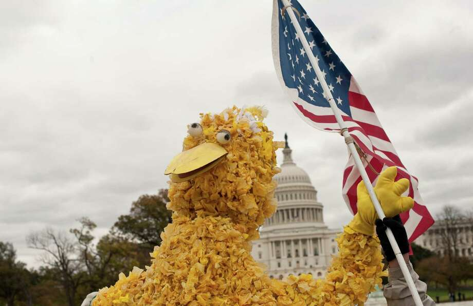 "A person in a costume of Sesame Street character Big Bird waves a US flag in front of the Capitol during the ""Million Puppet March"" in support of public broadcasting in Washington on November 3, 2012. Several hundred supporters of US public broadcasting in a good-humored protest prompted by US Republican candidate Mitt Romney's threat, in a televised debate with President Barack Obama a month ago, to halt government funding to public media if he wins the White House on ovember 6.    AFP PHOTO/Nicholas KAMMNICHOLAS KAMM/AFP/Getty Images Photo: NICHOLAS KAMM, AFP/Getty Images / AFP"