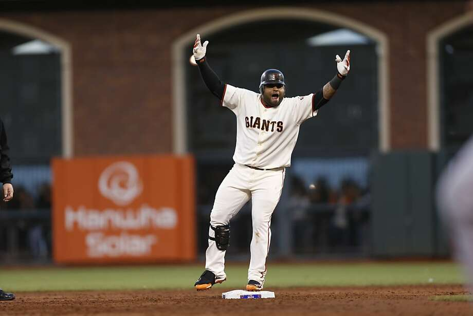 Giants' third baseman Pablo Sandoval doubles in the 3rd inning during game 7 of the NLCS at AT&T Park on Monday, Oct. 22, 2012 in San Francisco, Calif. Photo: Michael Macor, The Chronicle