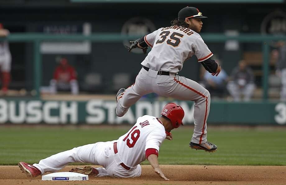 Giants Brandon Crawford forces the Cardinals' Jon Jay at second base and throws to complete a double play with Carlos Beltran out at first, as the San Francisco Giants take on  the St. Louis Cardinals  in game three, of the National League Championship Series  which is tied at 1-1, on Wednesday Oct. 17, 2012. at Busch Stadium ,  in  St. Louis, Mo. Photo: Michael Macor, The Chronicle