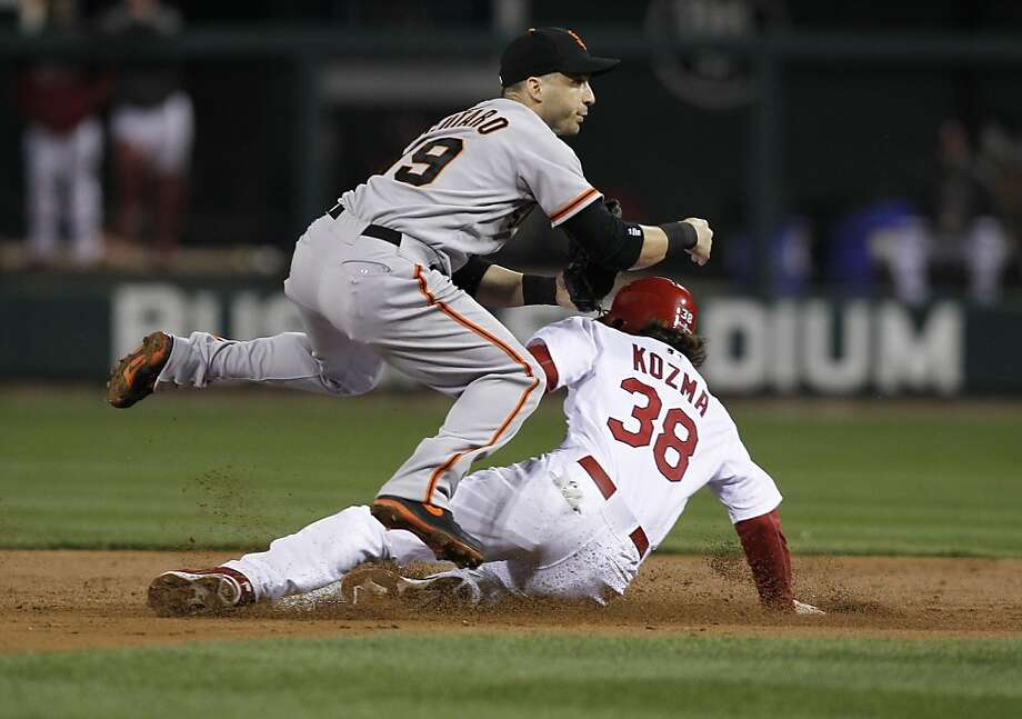 Giants' Marco Scutaro forces out the Cardinals' Pete Kozma and throws to complete a double play getting Lance Lynn at first base to end the second inning, as the San Francisco Giants take on the St. Louis Cardinals in game five of the National League Championship Series, on Friday Oct. 19, 2012 at Busch Stadium , in  St. Louis, Mo. Photo: Michael Macor, The Chronicle