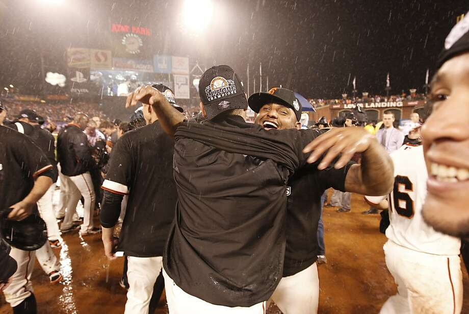 Pablo Sandoval celebrates the Giants' 9-0 victory over the St. Louis Cardinals to advance to the World Series during game 7 of the NLCS at AT&T Park on Monday, Oct. 22, 2012 in San Francisco, Calif. Photo: Michael Macor, The Chronicle