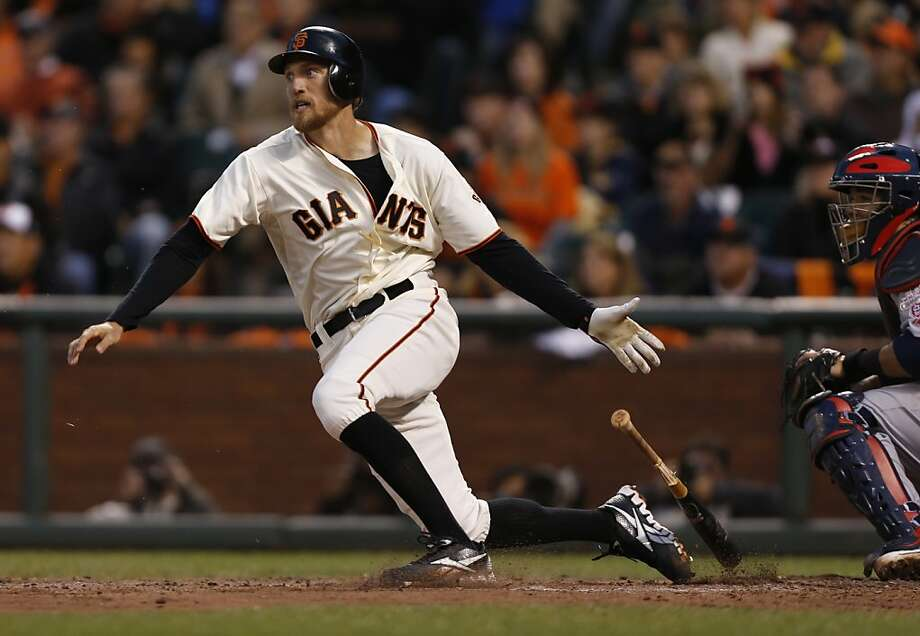 Giants' right fielder Hunter Pence doubles in the 3rd scoring 2 during game 7 of the NLCS at AT&T Park on Monday, Oct. 22, 2012 in San Francisco, Calif. Photo: Michael Macor, The Chronicle