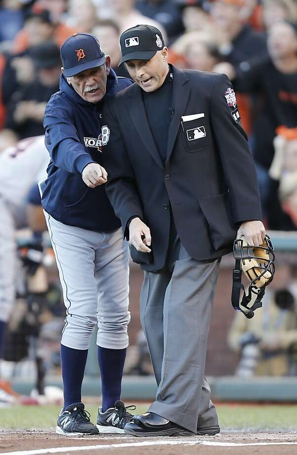 Tigers' manager Jim Leylan argues a call with home plate umpire Da Iassogna in the 2nd inning during game 2 of the World Series at AT&T Park on Thursday, Oct. 25, 2012 in San Francisco, Calif. Photo: Michael Macor, The Chronicle