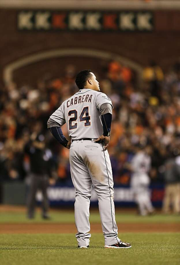 Tigers' Miquel Cabrera waits to take his position after striking out to end the eighth inning, as the San Francisco Giants went on to beat the Detroit Tigers 8-3 to take game one of the World Series, on Wednesday Oct. 24, 2012 at AT&T Park, in  San Francisco, Calif. Photo: Michael Macor, The Chronicle