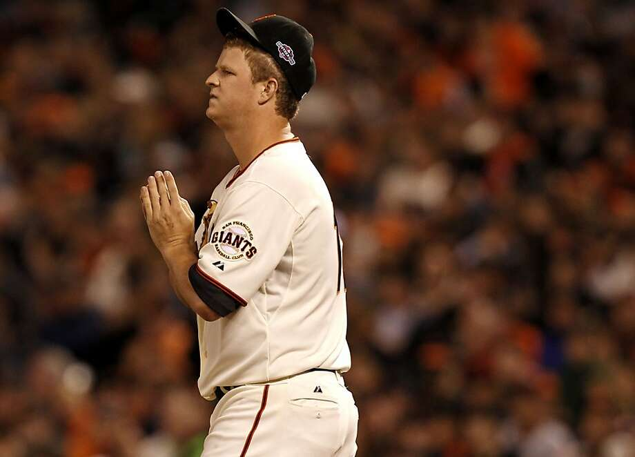 Giants pitcher Matt Cain after giving up a two run home run to the Reds Brandon Phillips in the third inning, as the San Francisco Giants take on the Cincinnati Reds in game one of the National League Divisional Series at AT&T Park  San Francisco, Calif., on Saturday October 6, 2012. Photo: Michael Macor, The Chronicle