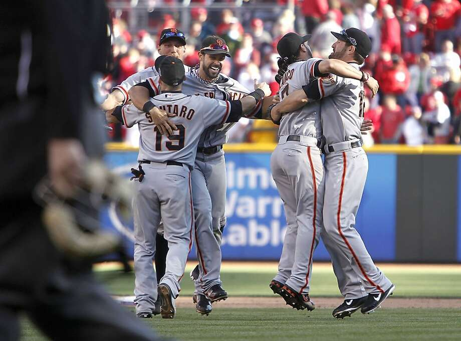 Giants celebrate their victory, Hunter Pence , Marco Scutaro, Angel Pagan, Gregor Blanco and Xavier Nady, as the San Francisco Giants beat the Cincinnati Reds 6-4 in game five to win the National League Division Series in Cincinnati, Ohio on Thursday Oct. 11, 2012. Photo: Michael Macor, The Chronicle