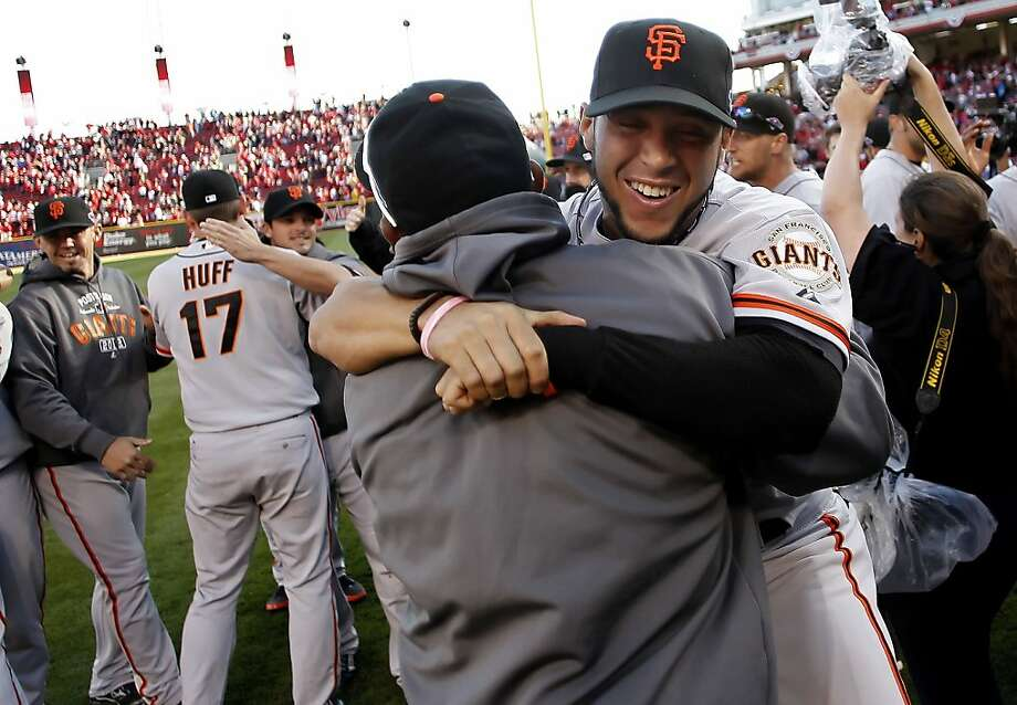 GIants Gregor Blanco celebrates the victory, as the San Francisco Giants  beat the Cincinnati Reds 6-4 in game five to win the National League Division Series in Cincinnati, Ohio on Thursday Oct. 11, 2012. Photo: Michael Macor, The Chronicle