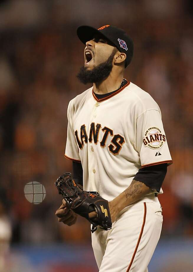Giants' closer, Sergio Romo makes the final out to end the game, as the San Francisco beat the St. louis Cardinals  7-1 in game two, to tie the National League Championship Series at 1-1, at AT&T Park,  the San Francisco, Ca.,  on Monday Oct. 15, 2012. Photo: Michael Macor, The Chronicle