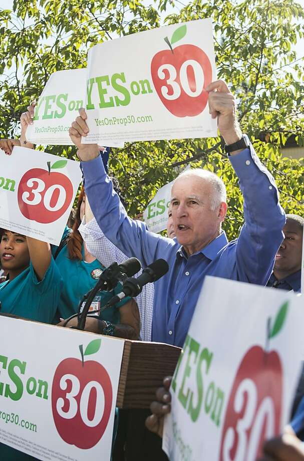 Gov. Brown promotes his tax increase measure. New voters may have an impact, if they turn out. Photo: Ken James, SFC