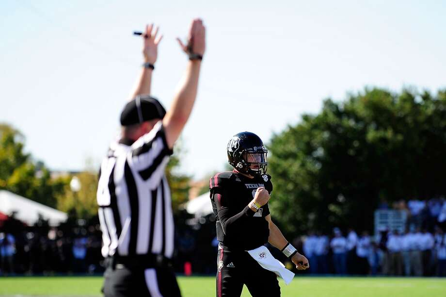 Johnny Manziel #2 of the Texas A&M Aggies reacts to a touchdown against the Mississippi State Bulldogs at Wade Davis Stadium on November 3, 2012 in Starkville, Mississippi.  (Stacy Revere / Getty Images)