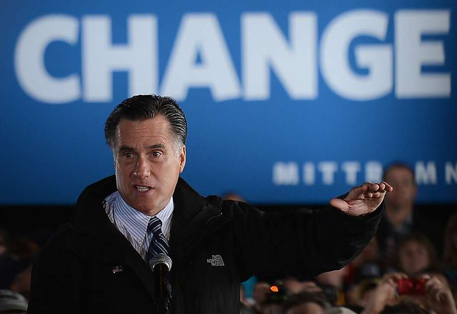Republican presidential candidate Mitt Romney addresses supporters at a campaign event at Iowa's Dubuque Regional Airport. Photo: Emmanuel Dunand, AFP/Getty Images
