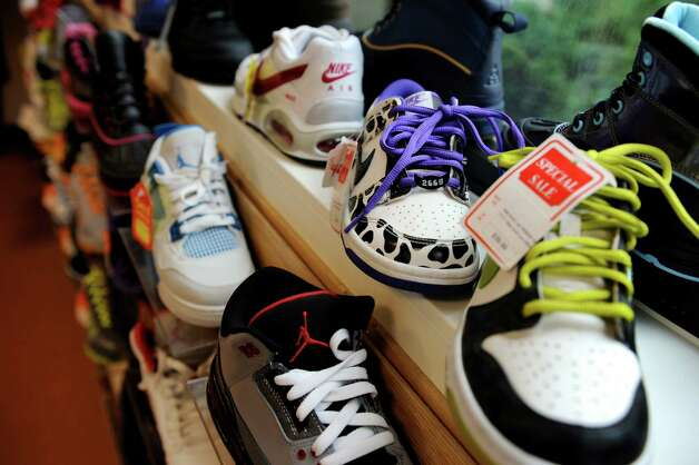 Some of the shoes for sale on Wednesday, Oct. 24, 2012, at Fresh Fly in Albany, N.Y. The recently opened store offers sportswear, business casual and fun clothes and accessories for men and women. (Cindy Schultz / Times Union) Photo: Cindy Schultz / 00019806A