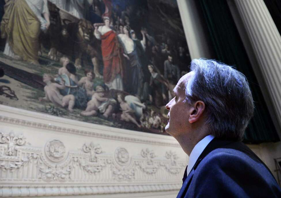 Mark Scaming of the NYS Museum examines the 29.5 x 18 ft. 1870 mural