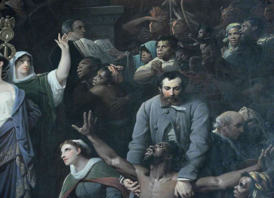"Detail from the 29.5 x 18 ft. 1870 mural ""Centennial of America"" by Adolphe Yvon that's hung for more than 60 years at the back of Chancellors Hall in the State Education Building in Albany? the last dozen of them behind a curtain because of images of slaves is being prepared for public viewing again Thursday Nov. 1, 2012.   (John Carl D'Annibale / Times Union) Photo: John Carl D'Annibale / 00019917A"