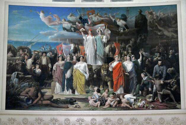 "The 29.5 x 18 ft. 1870 mural ""Centennial of America"" by Adolphe Yvon that's hung for more than 60 years at the back of Chancellors Hall in the State Education Building in Albany? the last dozen of them behind a curtain because of images of slaves is being prepared for public viewing again Thursday Nov. 1, 2012.   (John Carl D'Annibale / Times Union) Photo: John Carl D'Annibale / 00019917A"