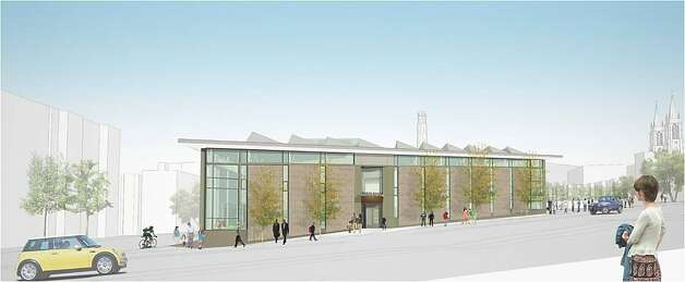 The new North Beach Branch Library is set to open in early 2014, filling what now is a small triangular block between Columbus Avenue, Lombard Street and Mason Street. There also are plans for an enlarged playground directly to the east. Photo: Leddy Maytum Stacy, LMS