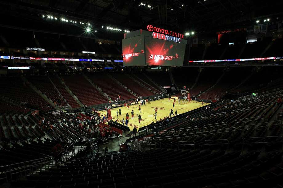 The new, larger scoreboard above the Toyota Center court before the start of the home opener NBA game at the Toyota Center, Saturday, Nov. 3, 2012, in Houston. Photo: Karen Warren, Houston Chronicle / © 2012  Houston Chronicle