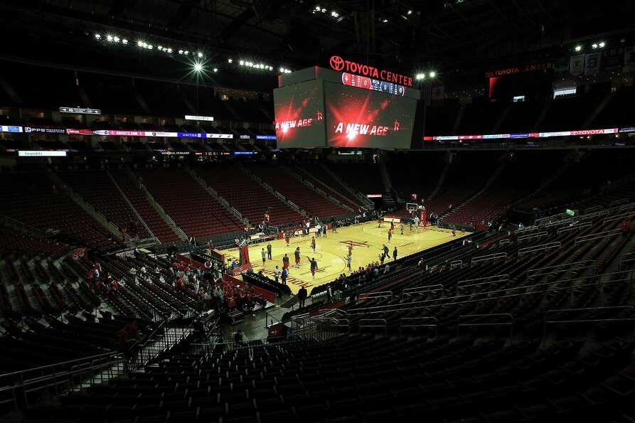 The new, larger scoreboard above the Toyota Center court before the start of the home opener NBA gam