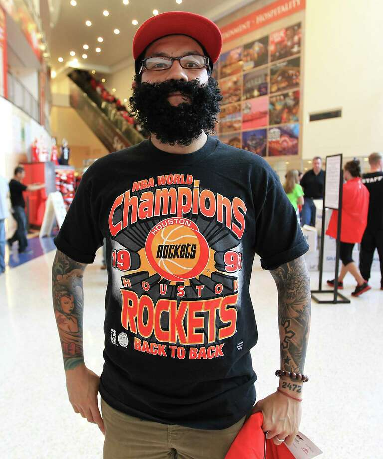 Bryan Santos sports a beard before the start of the home opener NBA game at Toyota Center, Saturday, Nov. 3, 2012, in Houston. Photo: Karen Warren, Houston Chronicle / © 2012  Houston Chronicle