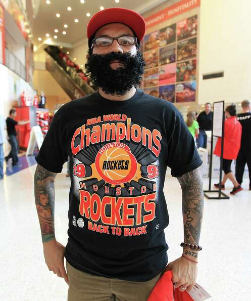 Bryan Santos sports a beard before the start of the home opener NBA game at Toyota Center, Saturday,