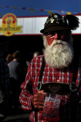 Charlie Perron, of Robstown, takes in the scene at Wurstfest in New Braunfels on Saturday, Nov. 3, 2012. Photo: Lisa Krantz, San Antonio Express-News / © 2012 San Antonio Express-News