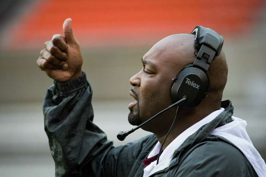 Texas Southern head coach Darrell Asberry signals to his offense during the first half of a college football game against Arkansas-Pine Bluff at BBVA Compass Stadium, Saturday, Nov. 3, 2012, in Houston. Photo: Smiley N. Pool, Houston Chronicle / © 2012  Houston Chronicle