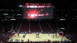 The new, larger scoreboard above the Toyota Center court before the start of the home opener NBA game at the Toyota Center, Saturday, Nov. 3, 2012, in Houston.   ( Karen Warren / Houston Chronicle )