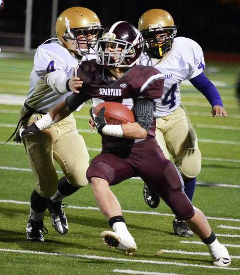 Burnt Hills' #24 Josh Quesada returns an Amsterdam kick off to score a TD in the Class A Super Bowl
