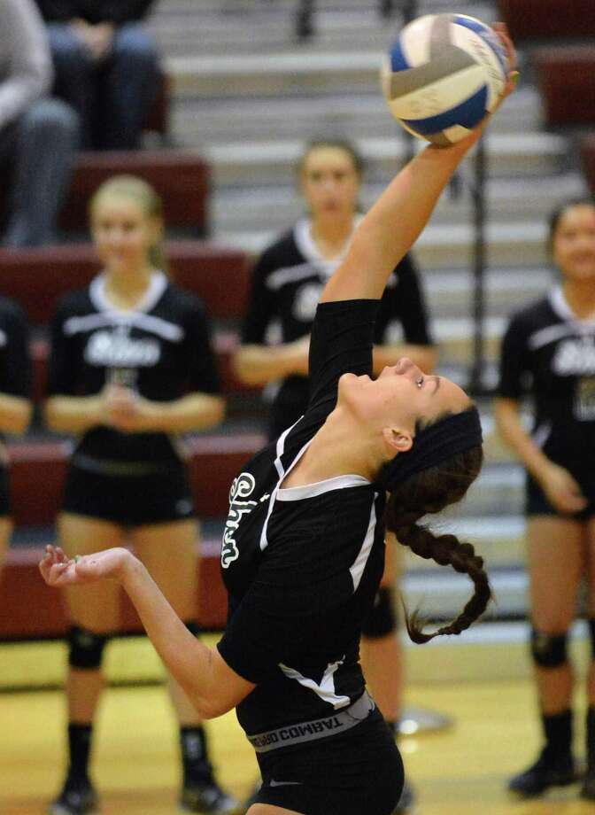 Shen's #9 Connie Krause serves against Guilderland High in the Section II Girls' Volleyball Finals at Stillwater High Saturday Nov. 3, 2012.  (John Carl D'Annibale / Times Union) Photo: John Carl D'Annibale / 00019925A