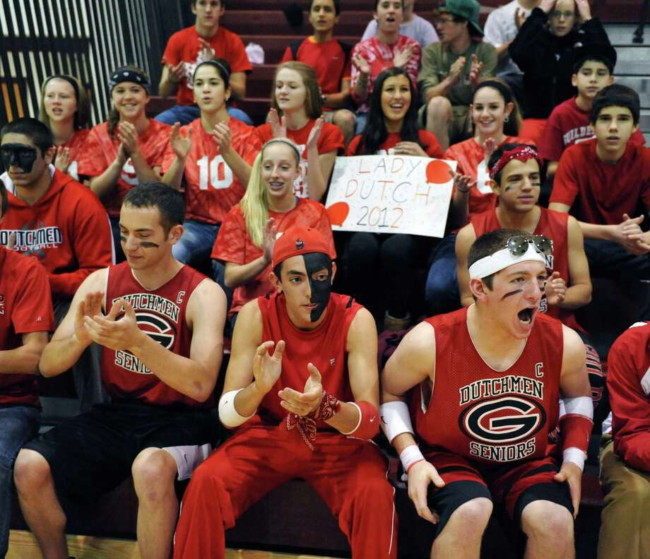 Guilderland fans cheer their team during the Section II Girls' Volleyball Finals against Shen at Stillwater High Saturday Nov. 3, 2012.  (John Carl D'Annibale / Times Union) Photo: John Carl D'Annibale / 00019925A