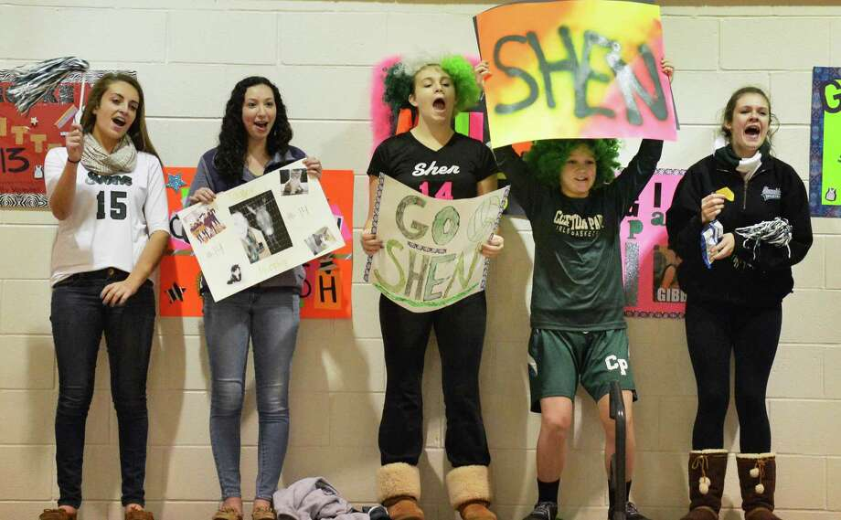 Shen fans cheer from atop the bleechers during the Section II Girls' Volleyball Finals against Guilderland at Stillwater High Saturday Nov. 3, 2012.  (John Carl D'Annibale / Times Union) Photo: John Carl D'Annibale / 00019925A