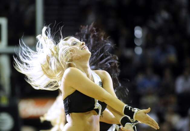 The Silver Dancers perform during a timeout of the Utah Jazz at Spurs game at the AT&T Center on Saturday, Nov. 3, 2012. (San Antonio Express-News)