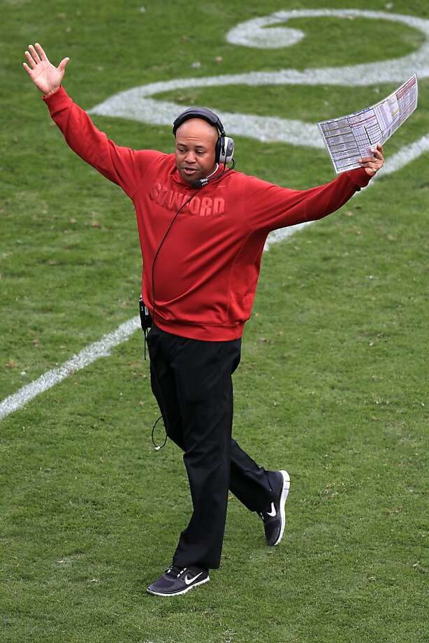 BOULDER, CO - NOVEMBER 03:  Head coach David Shaw of the Stanford Cardinals celebrates a touchdown against the Colorado Buffaloes at Folsom Field on November 3, 2012 in Boulder, Colorado.  (Photo by Doug Pensinger/Getty Images) Photo: Doug Pensinger, Getty Images