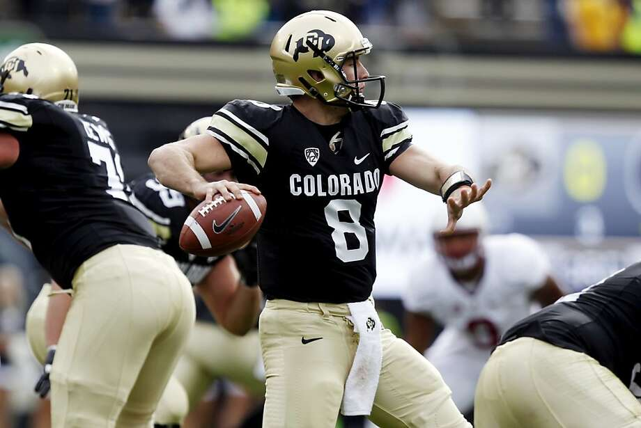 Colorado backup quarterback Nick Hirschman looks to pass against Stanford in the first quarter of an NCAA college football game in Boulder, Colo., Saturday, Nov. 3, 2012. (AP Photo/David Zalubowski) Photo: David Zalubowski, Associated Press