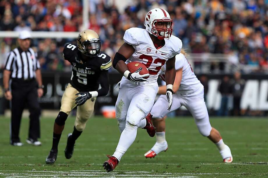 BOULDER, CO - NOVEMBER 03:  Running back Stepfan Taylor #33 of the Stanford Cardinals rushes 26 yards for a touchdown against the Colorado Buffaloes in the second quarter at Folsom Field on November 3, 2012 in Boulder, Colorado.  (Photo by Doug Pensinger/Getty Images) Photo: Doug Pensinger, Getty Images