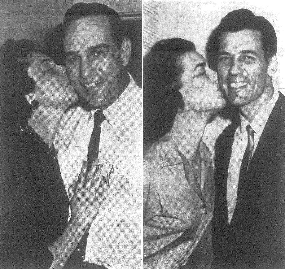 "LEFT: Democrat James Barlow, beaming in victory, is bussed by his wife as returns show a sweeping victory for ""Big Jim"" in the district attorney's race. RIGHT: Mrs. Howard Hunt plants a kiss on her losing, but still smiling husband, Republican candidate for district attorney, Howard Hunt. Published in the San Antonio Express Nov. 7, 1962. Photo: File Photo"