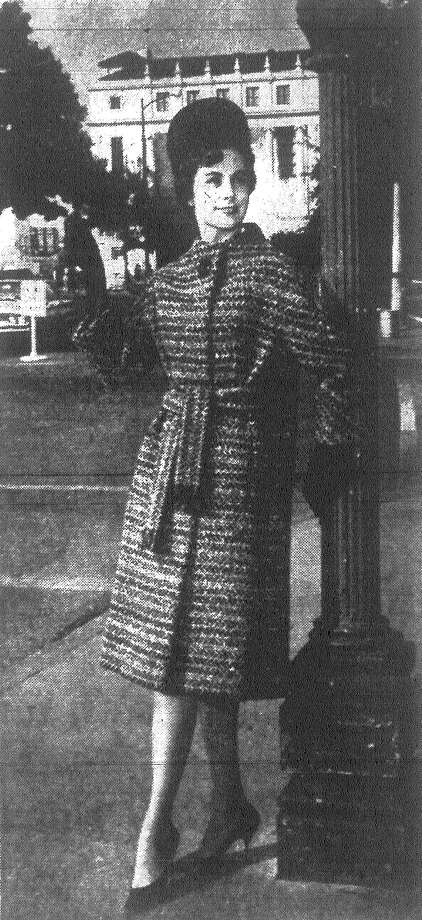 Monte-Sano and Pruzan designed this pace-setting coat of black, white and gray wool tweed modeled by Sharon Hill. Published in the San Antonio Express Nov. 4, 1962. Photo: File Photo