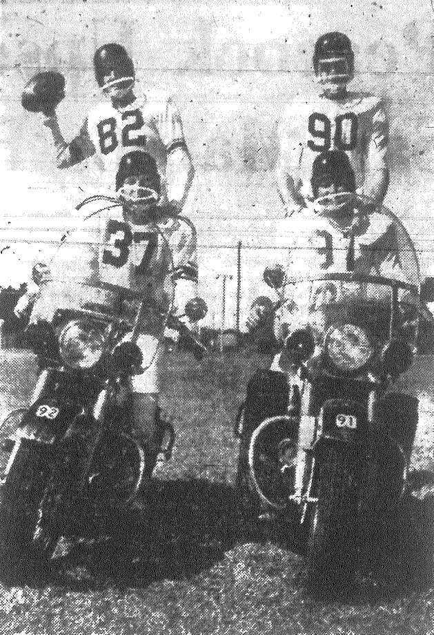 "The Police Panthers won't be able to throw this ""two-wheel"" attack at University of Nueva Leon Sunday but they hope to generate a lot of speed for the annual charity game. Policemen here are Tom Foose (82), Dow Criswell (37), Gus Scharien (90), and Robert Graftman (91). The police officers have been practicing in two shifts so as not to interfere with their duty hours. Published in the San Antonio Express Nov. 3, 1962. Photo: File Photo"